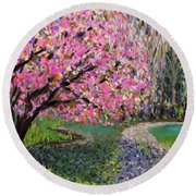 Spring Tree At New Pond Farm Round Beach Towel