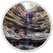 Round Beach Towel featuring the painting Spring Trickling In by Darren Robinson