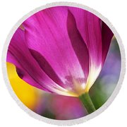 Round Beach Towel featuring the photograph Spring Tulip by Rona Black