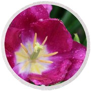 Spring Tulips 47 Round Beach Towel