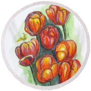 Spring Tulips Round Beach Towel by Clyde J Kell