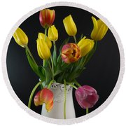 Spring Tulips In Vase Round Beach Towel
