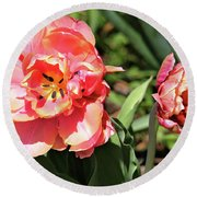 Round Beach Towel featuring the photograph Spring Tulips by Trina Ansel