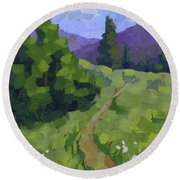 Spring Walk In The Mountains Round Beach Towel