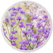 Round Beach Towel featuring the photograph Spring Watercolors. Blooming Rhododendron  by Jenny Rainbow