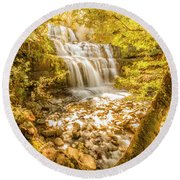 Spring Waterfall Round Beach Towel