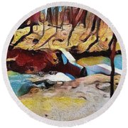 Spring Waterfall Round Beach Towel by Kathie Chicoine