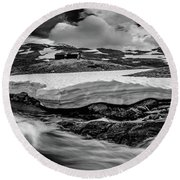 Round Beach Towel featuring the photograph Spring Waters by Dmytro Korol