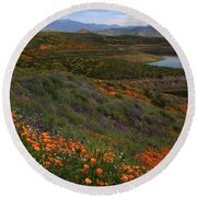 Round Beach Towel featuring the photograph Spring Wildflowers At Diamond Lake In California by Jetson Nguyen