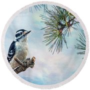 Spring Woodpecker Round Beach Towel