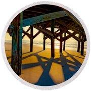 Springmaid Pier At Sunrise Round Beach Towel by David Smith