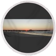 Springmaid Pier Sunrise Round Beach Towel by Gordon Mooneyhan