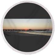 Springmaid Pier Sunrise Round Beach Towel