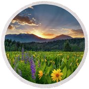 Spring's Delight Round Beach Towel