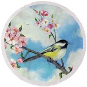 Round Beach Towel featuring the painting Spring's Promise by Donna Tucker