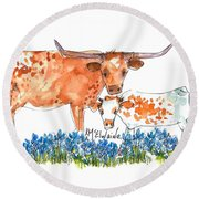 Springs Surprise Watercolor Painting By Kmcelwaine Round Beach Towel