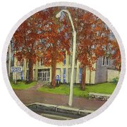 Springtime At Waltham Police Station Round Beach Towel