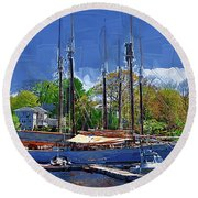 Springtime In The Harbor Round Beach Towel by Kirt Tisdale
