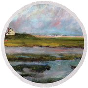 Round Beach Towel featuring the painting Springtime In The Marsh by Michael Helfen