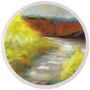 Springtime In The Rockies Round Beach Towel by Frances Marino