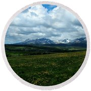 Springtime In The Rockies Round Beach Towel
