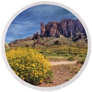Springtime In The Superstition Mountains Round Beach Towel