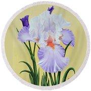 Springtime Iris Round Beach Towel