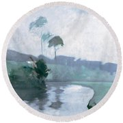 Round Beach Towel featuring the painting Springtime by John Henry Twachtman