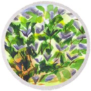 Round Beach Towel featuring the painting Springtime Lilac Abstraction by Kip DeVore