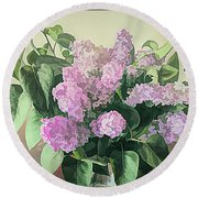 Springtime Lilacs Round Beach Towel by Luther Fine Art