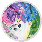 Round Beach Towel featuring the painting Springtime Magic - White Fairy Cat by Carrie Hawks