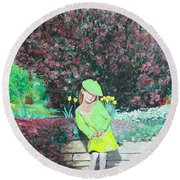 Springtime On Iris Round Beach Towel