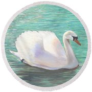 Round Beach Towel featuring the painting Springtime On The River by Elizabeth Lock