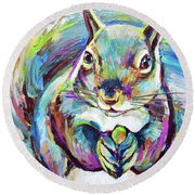 Springtime Squirrel Round Beach Towel by Robert Phelps