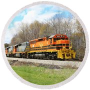 Round Beach Towel featuring the photograph Springtime Train by Rick Morgan