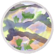 Round Beach Towel featuring the painting Springtime Wildflower Camouflage  by Kip DeVore