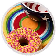 Sprinkled Donut On Circle Plate With Bowl Round Beach Towel