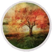 Round Beach Towel featuring the digital art Sprinkled With Spring by Lois Bryan