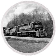Round Beach Towel featuring the photograph Sprintime Train In Black And White by Rick Morgan