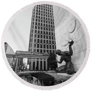 Sprit Of Detroit From Side  Round Beach Towel by John McGraw