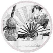 Spirit Of Japan. Pumpkin Jar And Fan Round Beach Towel