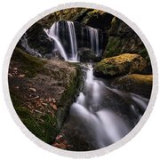 Sprucebrook Falls In Beacon Falls, Ct Round Beach Towel