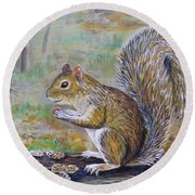 Spunky Squirrel Round Beach Towel by Lou Ann Bagnall