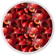 Square Apples Round Beach Towel
