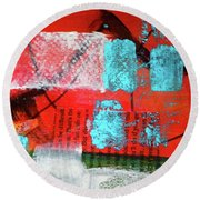 Round Beach Towel featuring the mixed media Square Collage No. 10 by Nancy Merkle