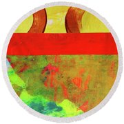 Round Beach Towel featuring the mixed media Square Collage No. 11 by Nancy Merkle