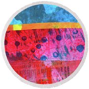 Round Beach Towel featuring the painting Square Collage No. 12 by Nancy Merkle