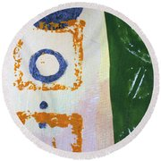Round Beach Towel featuring the mixed media Square Collage No 2 by Nancy Merkle