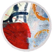 Round Beach Towel featuring the painting Square Collage No. 3 by Nancy Merkle