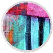 Round Beach Towel featuring the painting Square Collage No 4 by Nancy Merkle